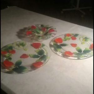 A Trio of Fused Art Glass Featuring Strawberries